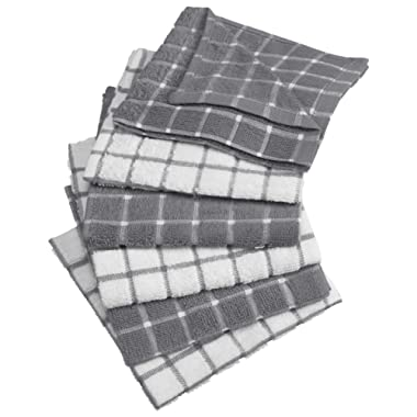 DII Cotton Terry Windowpane Dish Cloths, 12 x 12  Set of 6, Machine Washable and Ultra Absorbent Kitchen Dishcloth-Gray