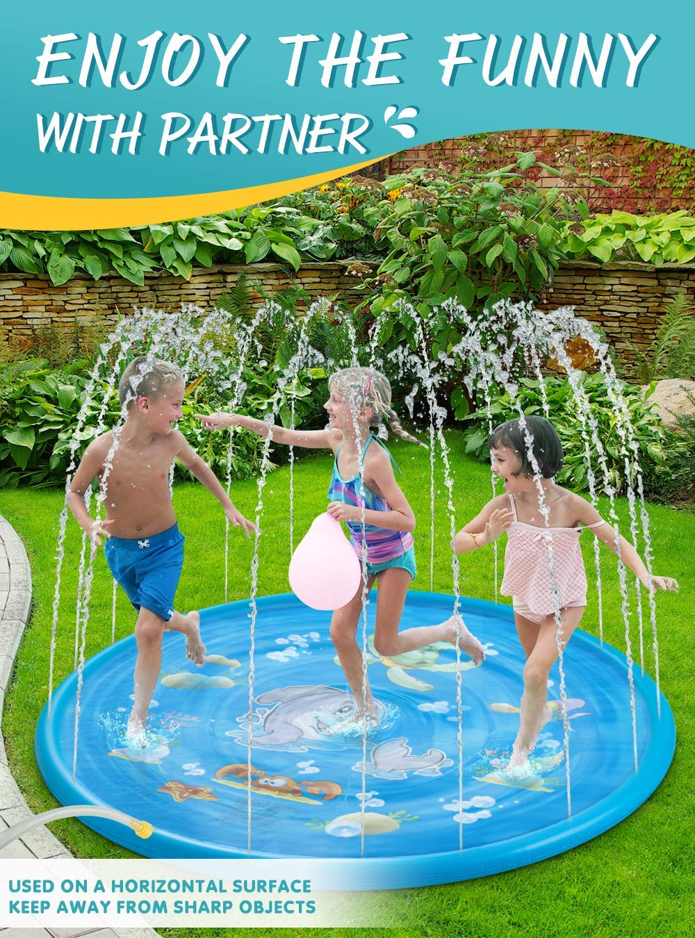 AiRoyal Water Sprinkler Pad for Kids Upgraded 68 Summer Outdoor Water Toys Wading Pool Splash Play Mat for Toddlers Baby Outside Water Play Mat for 1-12 Years Old Children Boys Girls