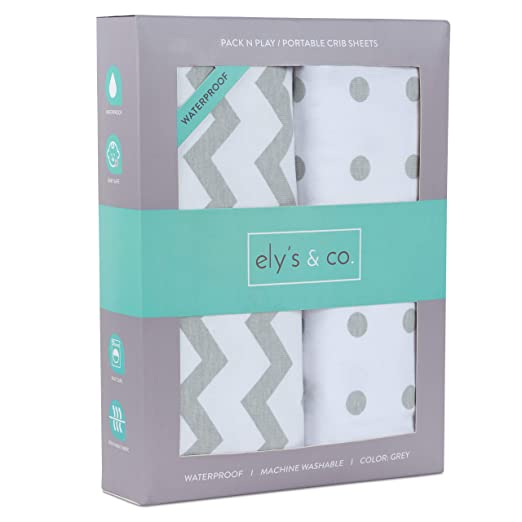 Ely's & Co. Kid's Waterproof Pack n Play Portable Mini Crib Sheet with Mattress Pad Cover Protection, White and Grey Chevron and Polka Dots (2 Pack)