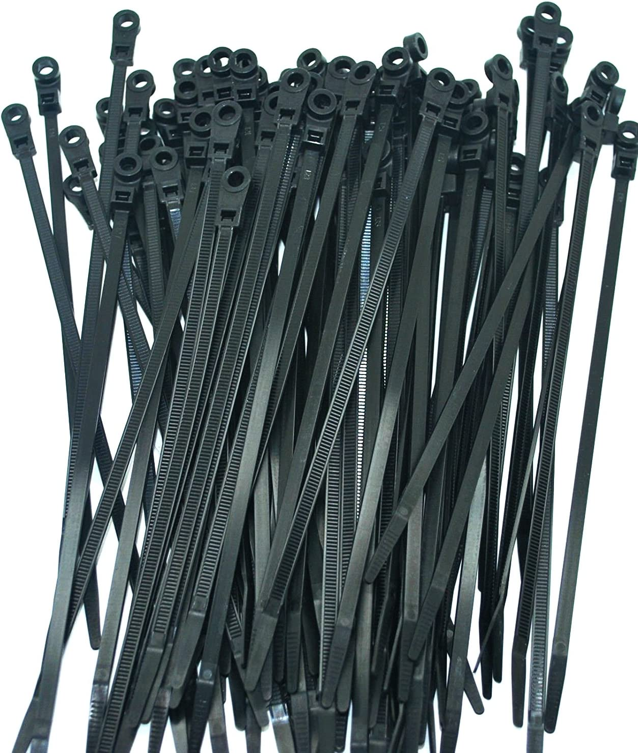 """100 PERFECT VISION BLACK MOUNTING HOLE CABLE TIE ZIP WRAPS 7"""" SATELLITE/CABLE CT7BLK-MH (Original Version) 81j4SHp5ABL"""