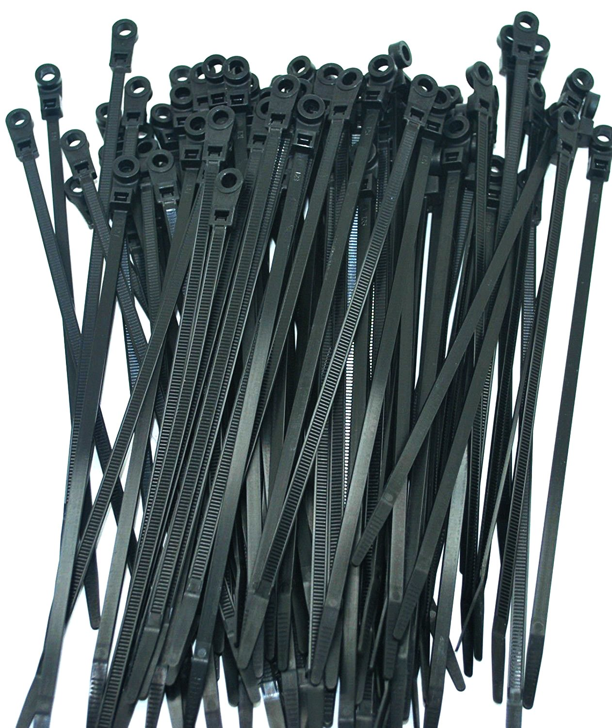 100 PERFECT VISION BLACK MOUNTING HOLE CABLE TIE ZIP WRAPS 7 SATELLITE CABLE CT7BLK MH