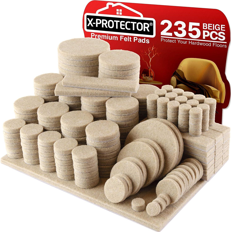 Felt Pads X Protector Giant 235 Pack Premium Furniture Pads Huge Quantity Felt Furniture Pads Wood Floor Protectors For Furniture Feet Best Hardwood Floor Protectors Protect Your Wood Floors