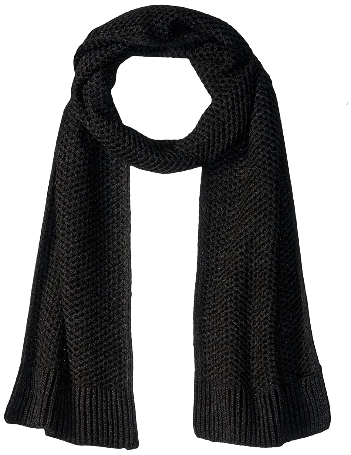 Calvin Klein Men's Two Tone Thermal Knit Scarf Accessory Charcoal One Size HKC63201
