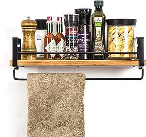 SODUKU Rustic Kitchen Wood Wall Shelf, Spice Rack Shelf with Towel Bar,Wood and Metal Floating Shelves Wall Mounted Toilet Storage Shelf for Kitchen Bathroom Bedroom Living Room Carbonized Black