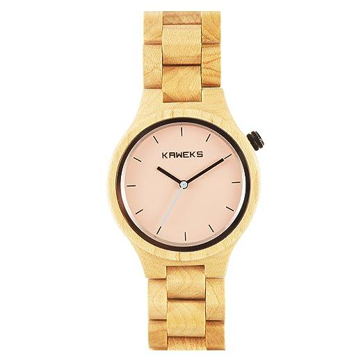 Reloj de madera mujer Kaweks® de pulsera. | Esfera 40 mm de color rosa.| Reloj de madera sostenible.: Amazon.es: Relojes