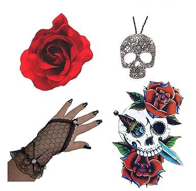 Día De Muerto Rojo Flor Pelo La Rosa, Guantes, Collar De Calavera+ ...