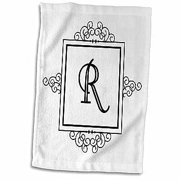 3dRose - Toalla Personalizada, diseño de Letra Inicial R, Color Blanco y Negro