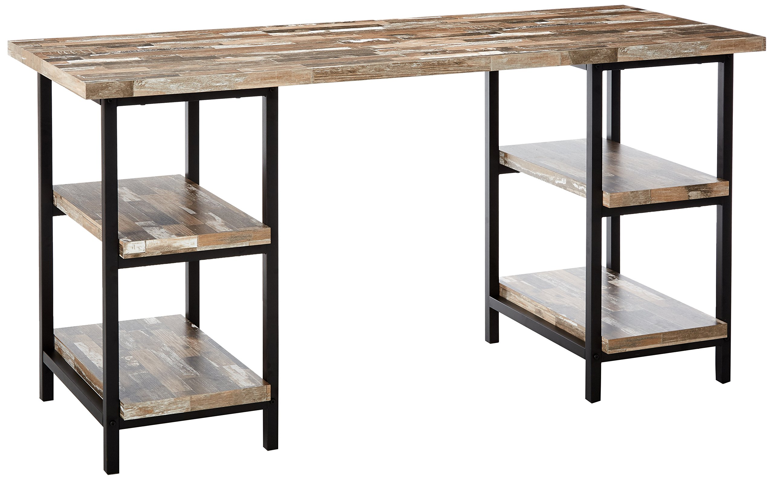 Skelton Writing Desk with Metal Frame Salvaged Cabin and Black by Coaster Home Furnishings