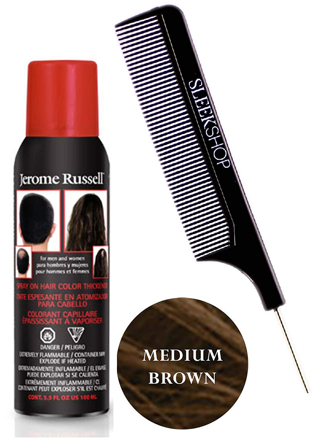 Jerome RusselL SPRAY ON HAIR COLOR THICKENER for MEN & WOMEN (w/Sleek Steel  Pin Tail Comb) 3.5 oz / 100 g Haircolor Dye for Thinning hair or Hair Loss  ...