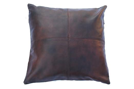 Star cuero grueso auténtica piel Funda de almohada marrón ...