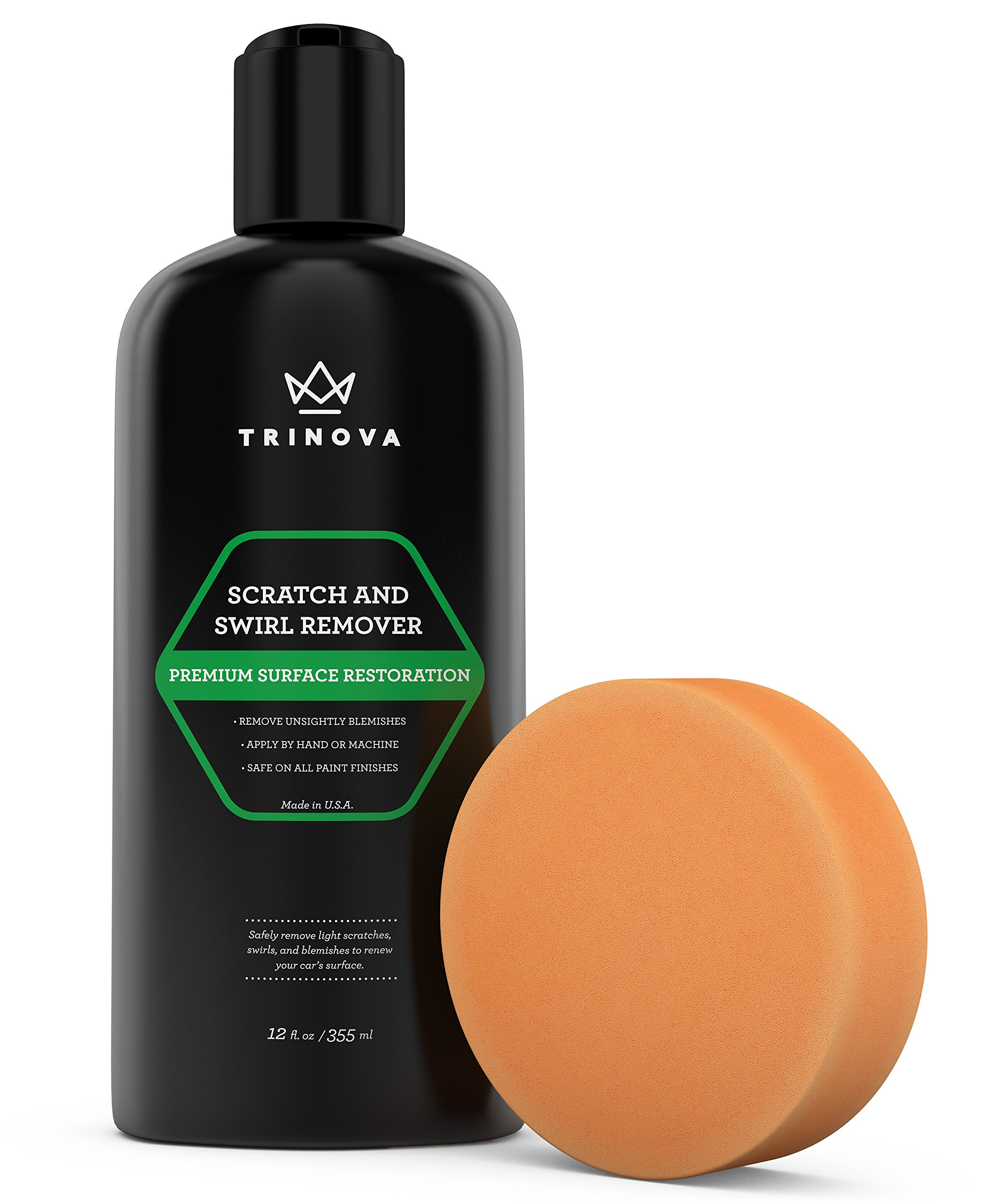 TriNova Scratch Swirl Remover - Best Abrasive Compound car Paint Restoration. Kit Includes Buffer pad Removal Polish in a Complete System. Ultimate Solution Clear Coat Care. 12oz