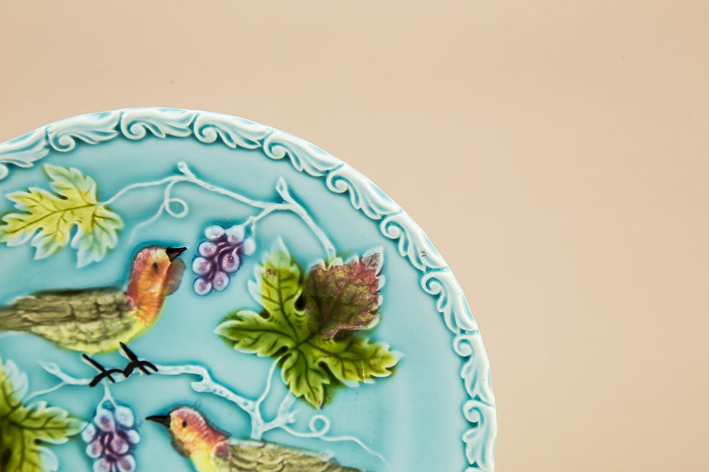 6 cerámica cerámica Vintage pájaros y uvas 6,5