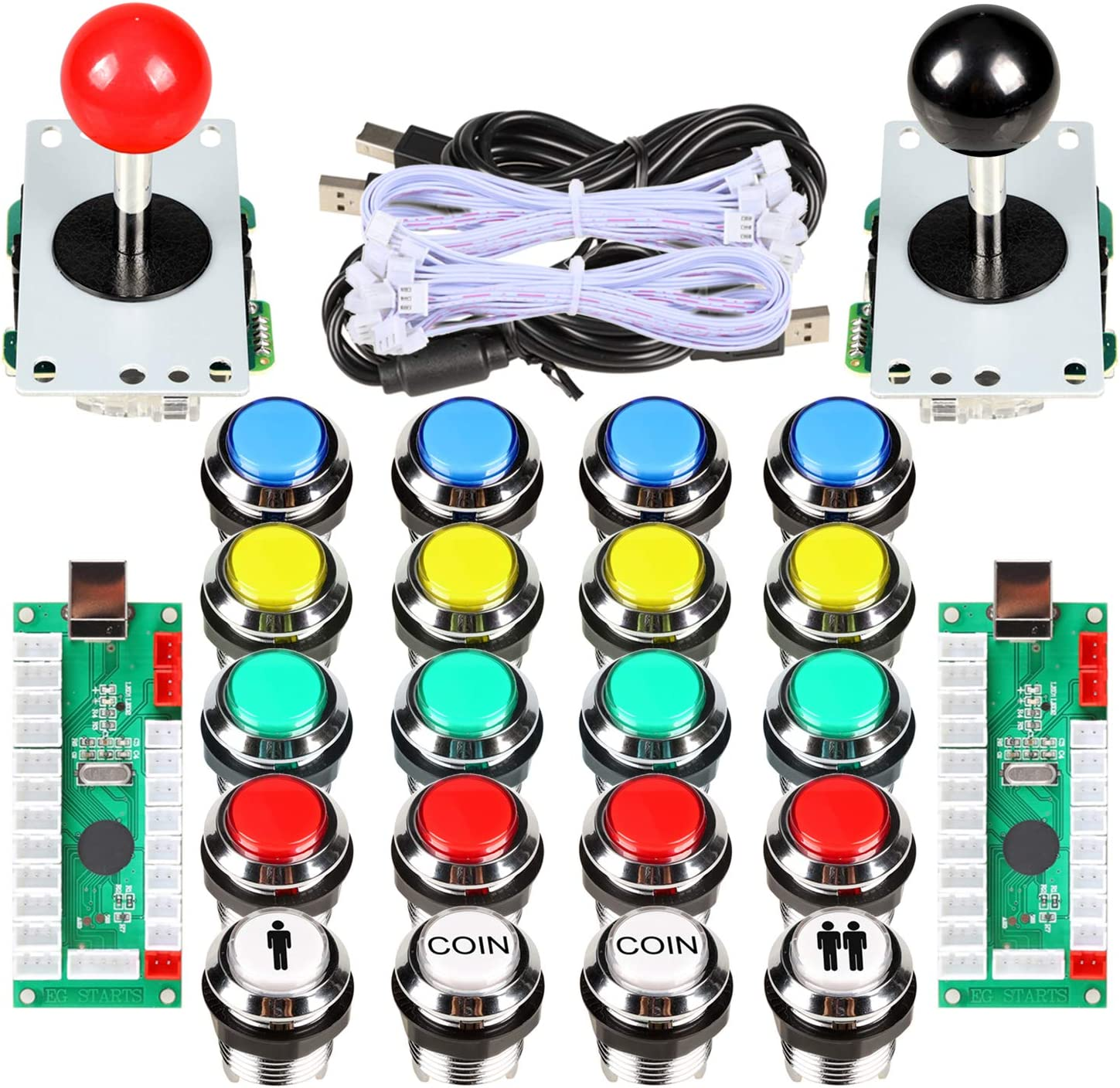 Avisiri 2 Player Arcade Joystick DIY Kit 2 x 8 Way Joystick + 20x Chrome LED Arcade Buttons Game Kit for PC Raspberry Pi Video Games (Mix Kits)