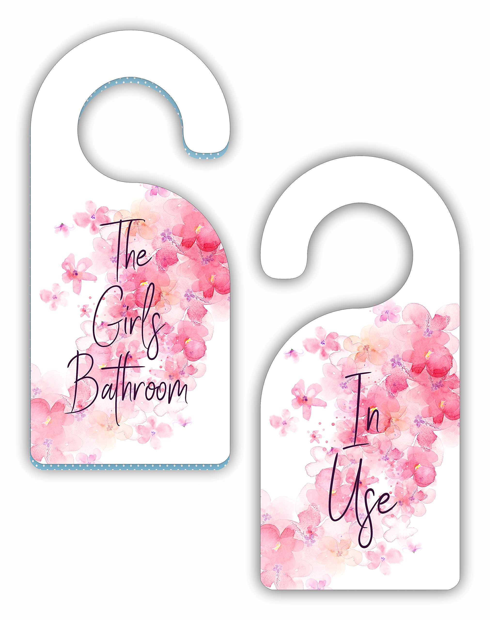The Girls Bathroom - In Use - Watercolor Floral - Room Door Sign Hanger - Double Sided - Hard Plastic - Glossy Finish