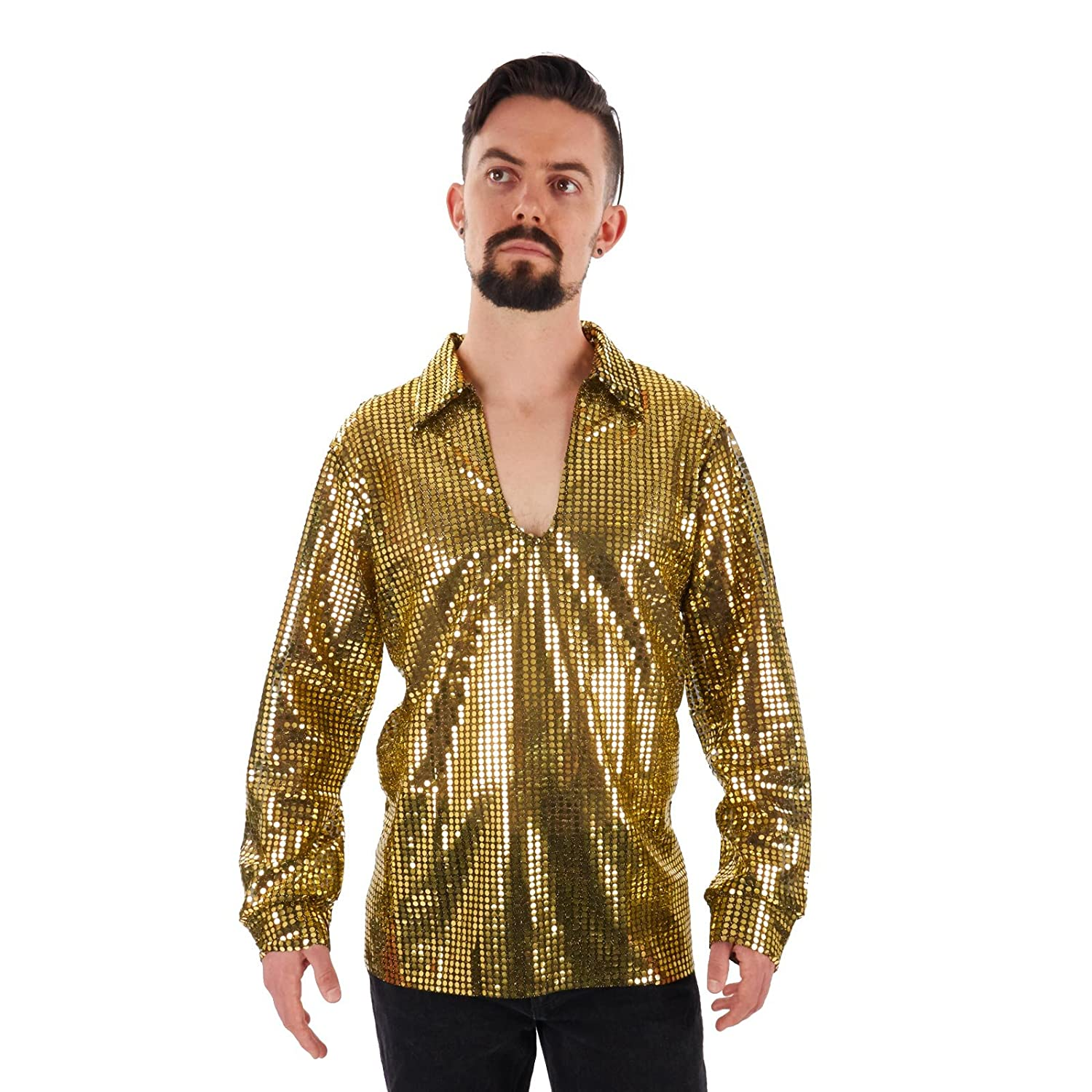 70s Costumes: Disco Costumes, Hippie Outfits Mens Sequin Disco Shirt $29.95 AT vintagedancer.com