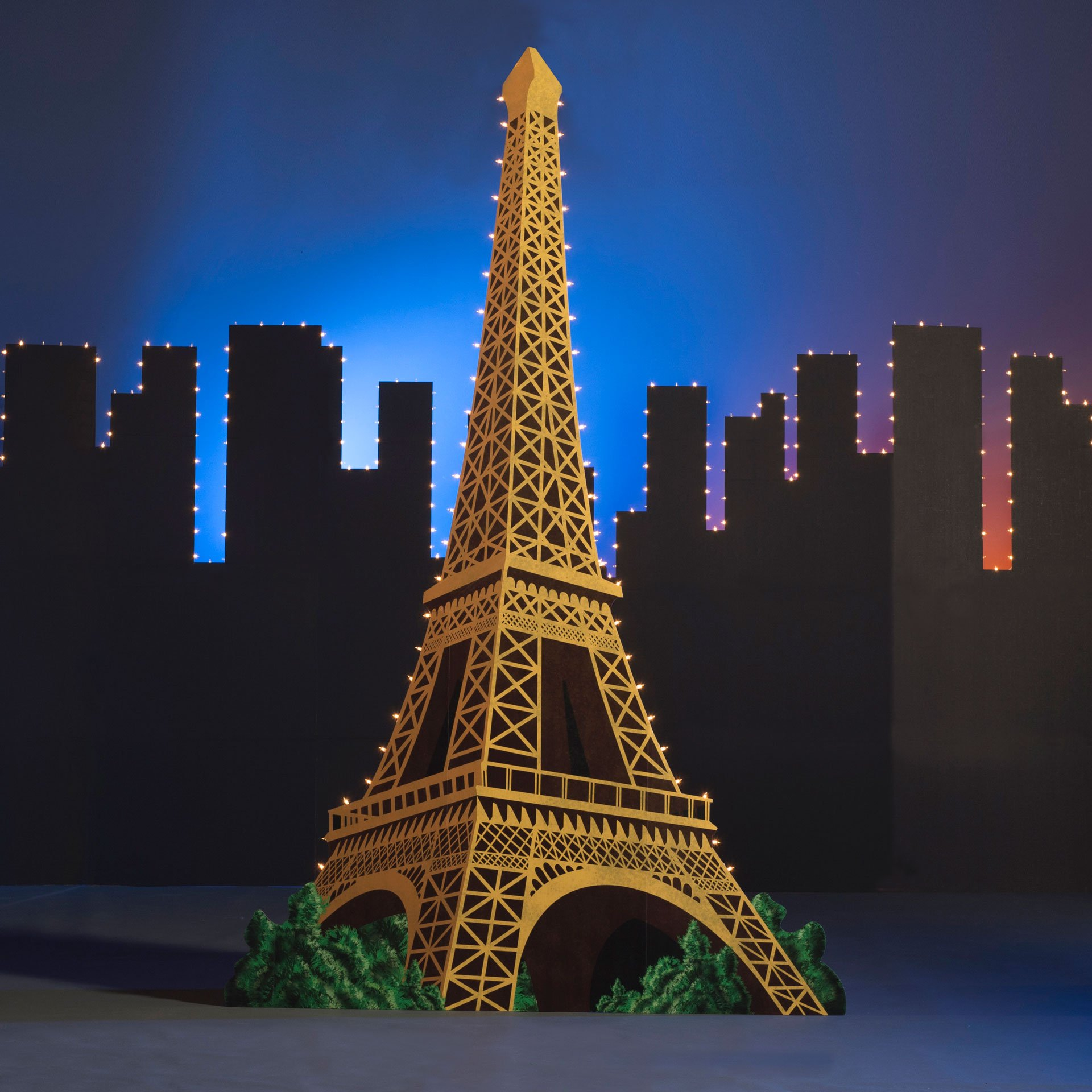 10 ft. 1 in. La Classique Paris France Lighted Eiffel Tower Standup Photo Booth Prop Background Backdrop Party Decoration Decor Scene Setter Cardboard Cutout