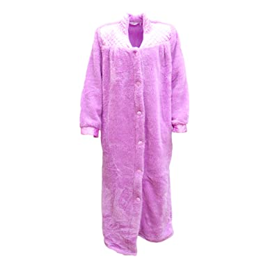 Women\'s Ladies Supersoft Button Up Dressing Gown Bath Robe w Quilted ...