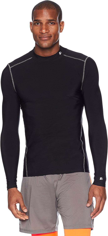Starter Men's Long Sleeve Mock Neck Athletic Light-Compression T-Shirt,  Exclusive: Clothing