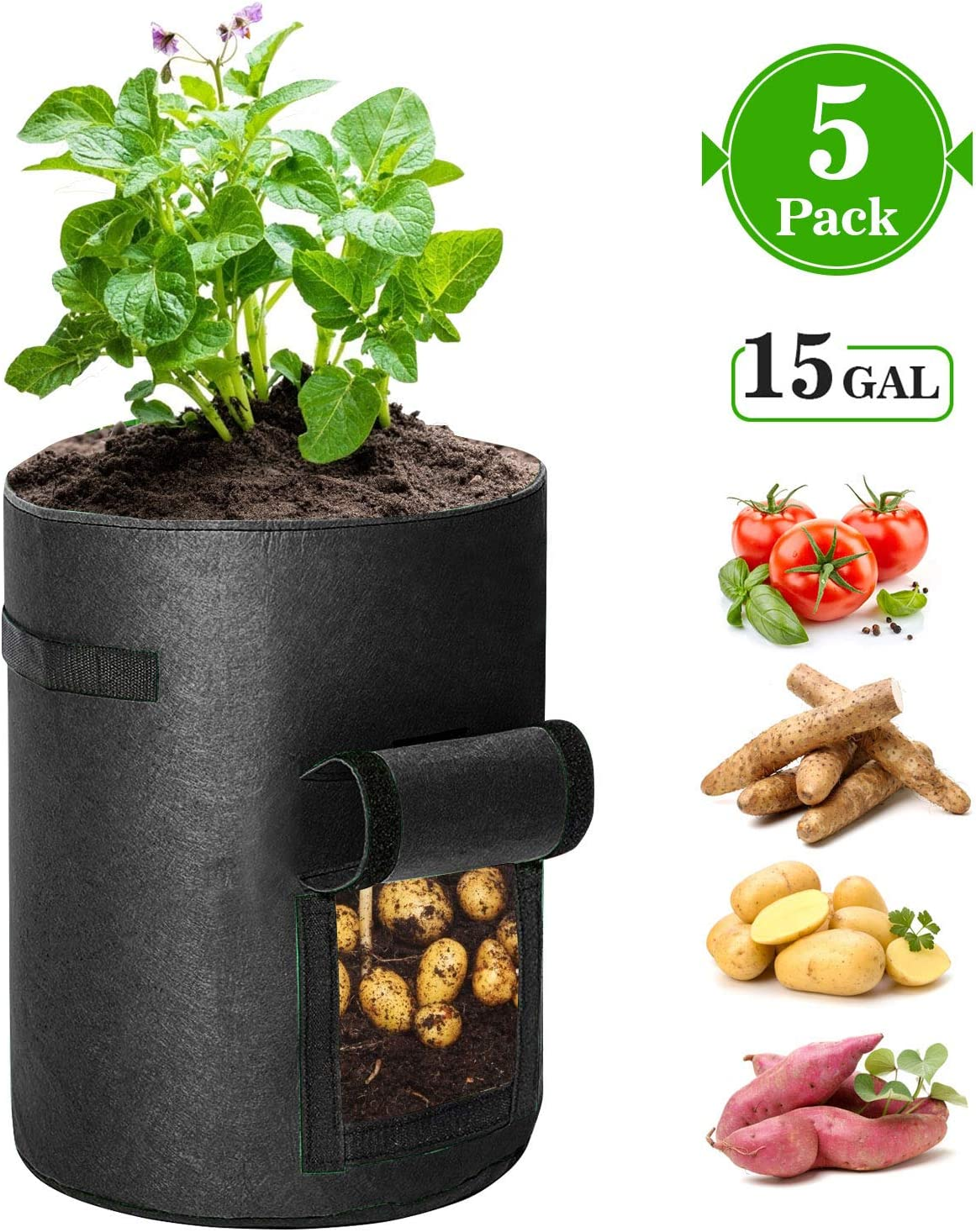 KAUFAM 5 Pack Plant Grow Bag 15 Gallon for Potato Tomato Carrot & Other Vegetable with Harvest Window and Handles, Easy to Use Flower Non-Woven Growing Bag Planting Box Container Garden Indoor Outdoor