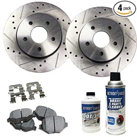 Detroit Axle - Drilled & Slotted Front Brake Rotors & Ceramic Pads w/Clips  Hardware & BRAKE CLEANER & FLUID for 06-11 Buick LuCerne V8-06-11 DTS 5-Lug