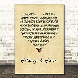 Selardoor #Heidi #Newfield #Johnny & June Vintage Heart Song Lyric Poster Wall Art Home Decor Gifts for Lovers Painting
