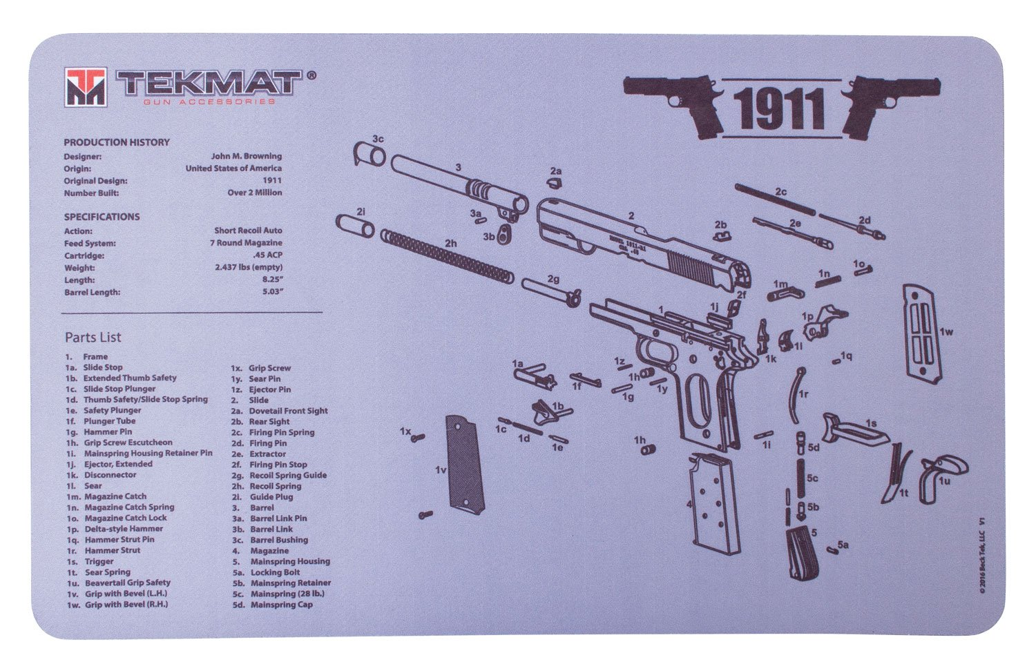 Amazon com : TekMat Double-Sided Cleaning Mat for use with 1911