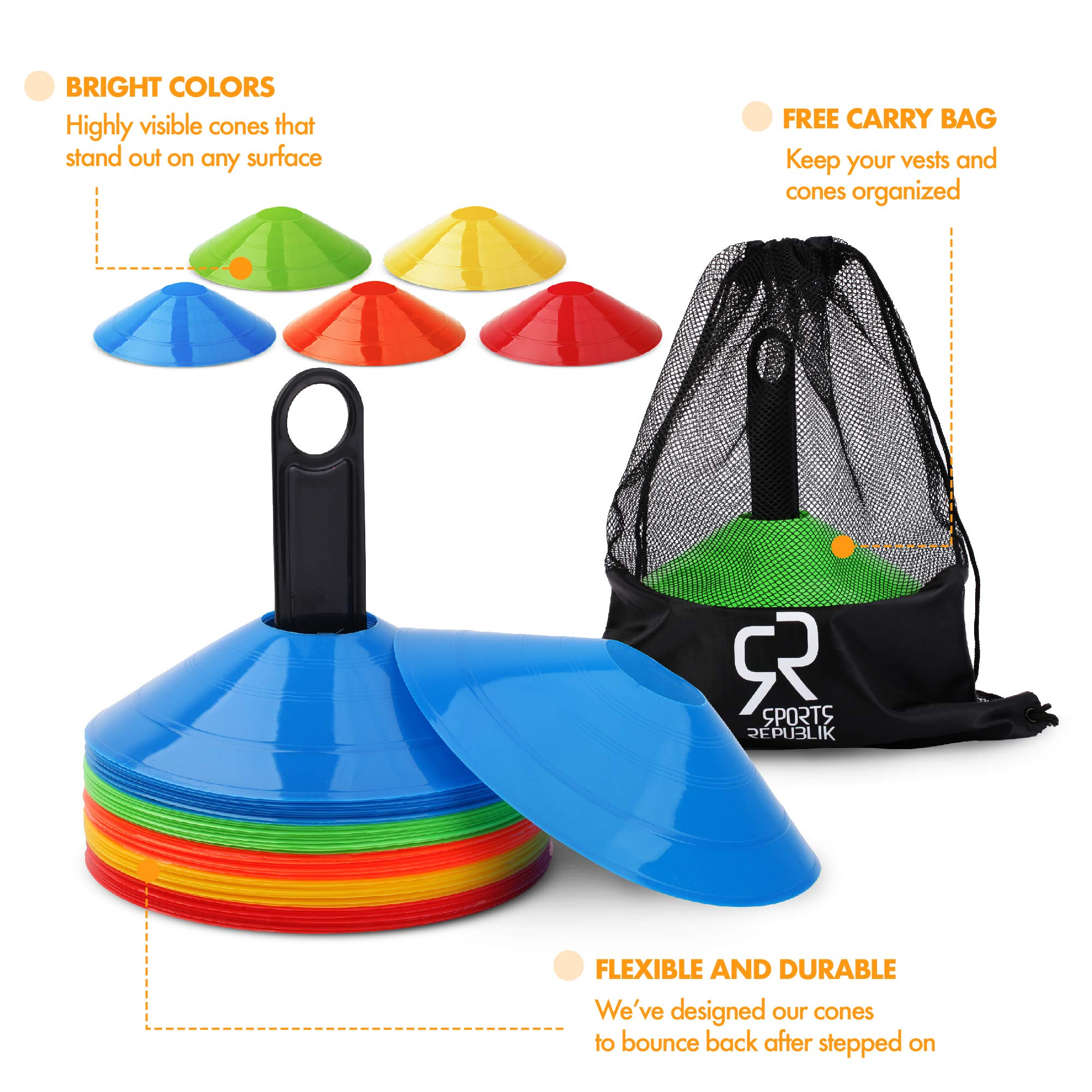 Soccer Cones (Set of 50) and Sports Jerseys Pinnies (12-Pack) - Perfect Disc Cones for Basketball Drills, Complete Soccer Training Equipment by SportsRepublik (Image #4)