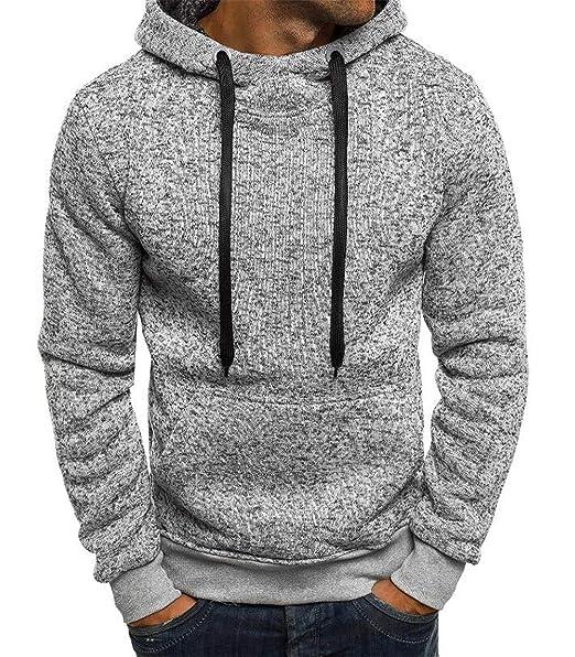 Sudaderas con Capucha Hombres Color sólido Sudadera Hombre Hip Hop otoño Invierno Sudadera con Capucha para Hombre Pullover XXL Light Grey XXL: Amazon.es: ...