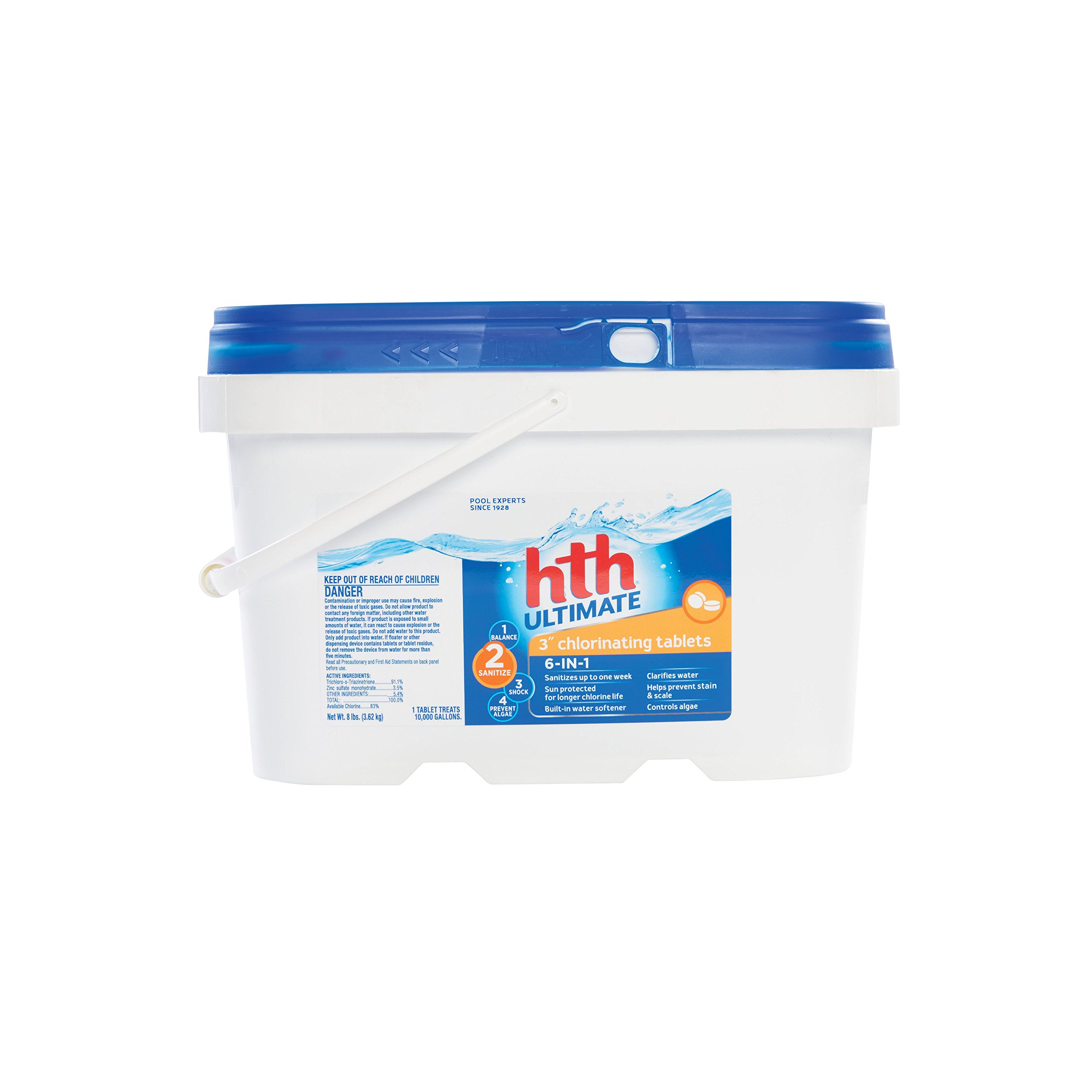 hth Pool Sanitizer 3'' Ultimate Chlorinating Tablets 6-in-1 (42018) by HTH