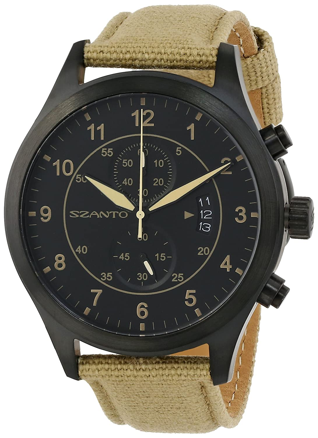 Szanto SZ1202 Unisex Patrol Khaki Nylon Band Schwarzes Zifferblatt Vintage Inspired Military Chronograph Watch