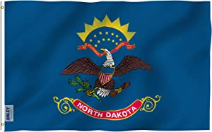 Anley Fly Breeze 3x5 Foot North Dakota State Flag - Vivid Color and Fade Proof - Canvas Header and Double Stitched - North Dakota ND Flags Polyester with Brass Grommets 3 X 5 Ft