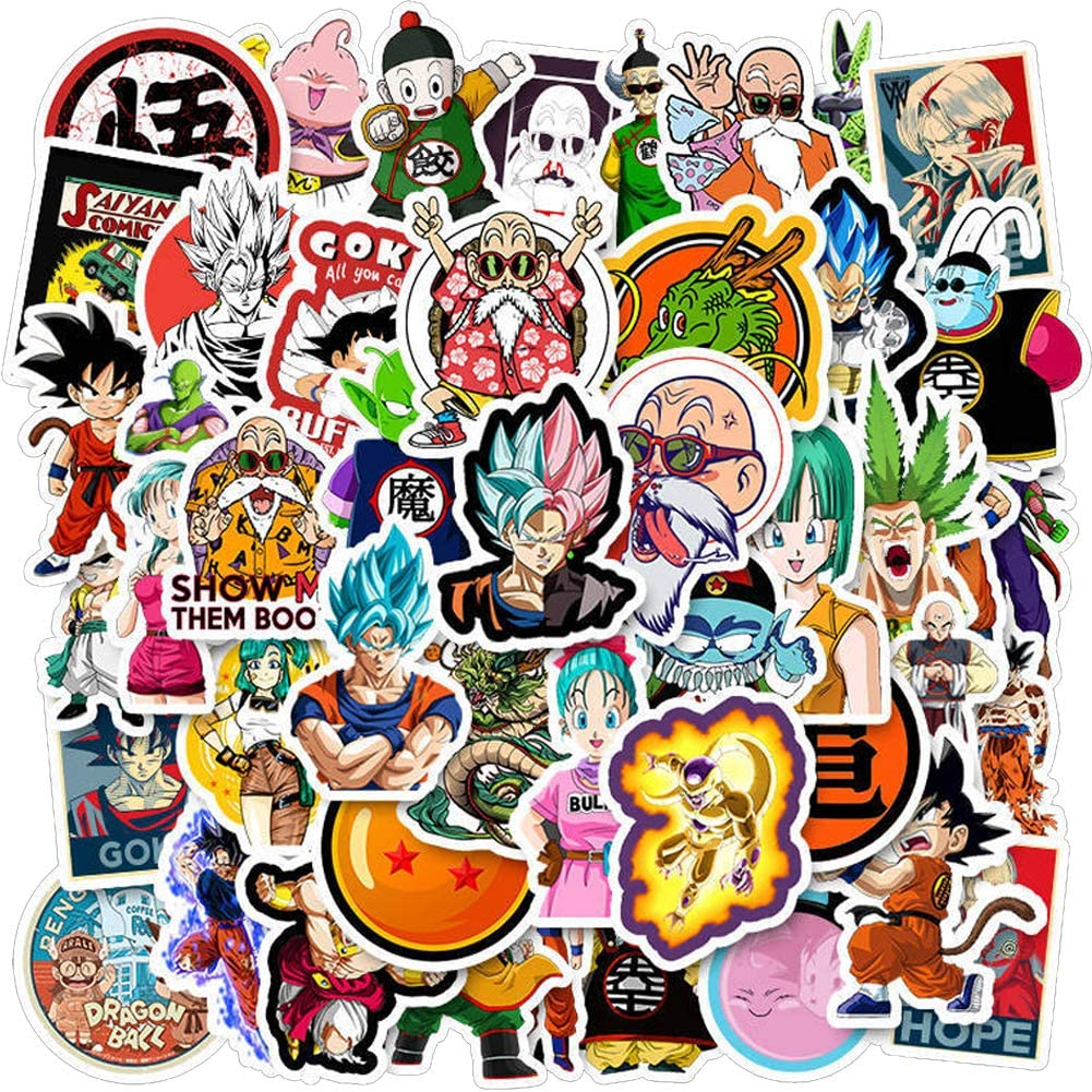 50PCS Dragon Ball Anime Laptop Stickers,Waterproof Anime Stickers for Water Bottles Vinyl Cool Stickers Decals for Car Laptop Luggage MacBook Skateboard Stickers