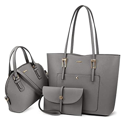 2 Pcs Set Faux Leather Single Shoulder Bag Tote Bag Purse Top Handles w// Zip Bag