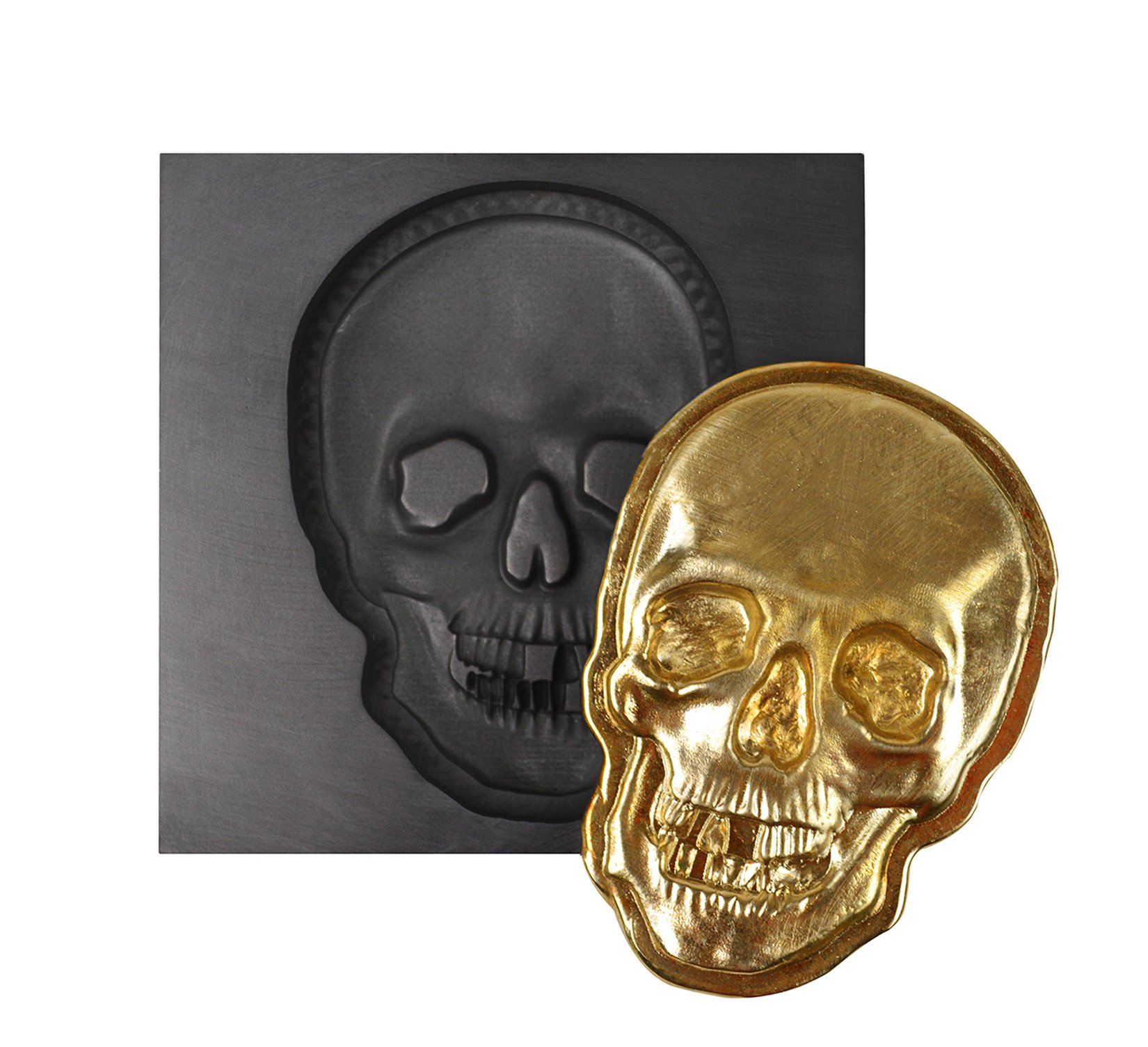 Large - Skull 3D Graphite Ingot Mold for Precious Metal Casting Gold Silver Copper Melting by PMC Supplies LLC