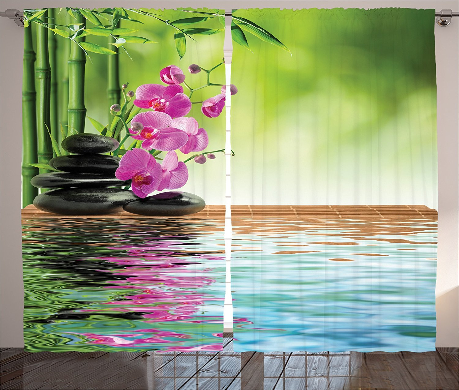 Spa Decor Curtains Orchid Flower Stone Oriental Culture Spirituality Wellness Tropical Holiday Living Room Bedroom Decor 2 Panel Set