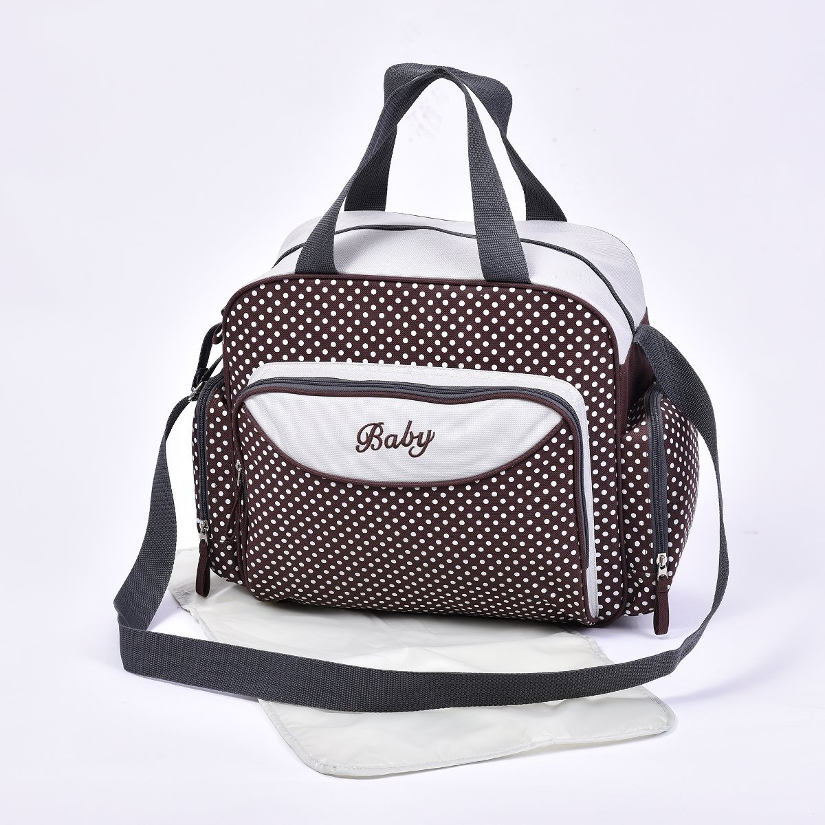 Baby Nappy Diaper Changing Bags Grey/Polka Dots Design 6600 (6600 Brown) just4baby