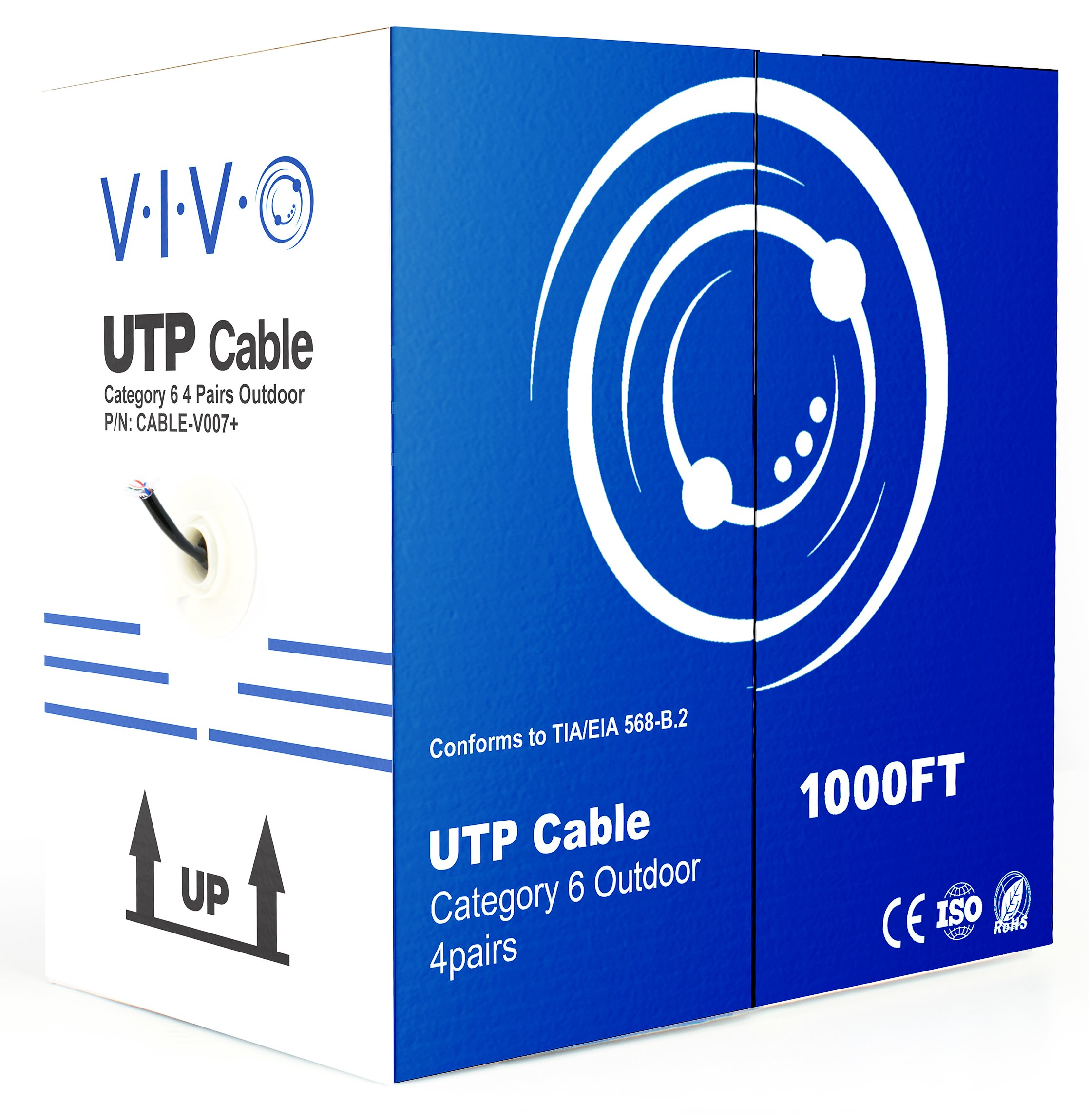 VIVO Black 1,000ft Bulk Cat6, CCA Ethernet Cable, 23 AWG, UTP Pull Box   Cat-6 Wire, Waterproof, Outdoor, Direct Burial (CABLE-V007) by VIVO