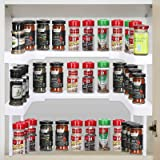 Spice Shelf for Kitchen, Expandable Seasoning Organizer for Cabinets, Stackable Cabinet Shelves, Spice Rack Tiered Organizer