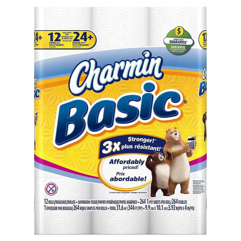 Charmin Basic Toilet Paper, Double Roll, 12 Count: Amazon.com ...