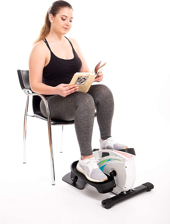 Under Desk Elliptical Exercise Trainer - Premium Compact Elliptical for Home or Office -Desk Stepper with Adjustable Resistance - Includes...