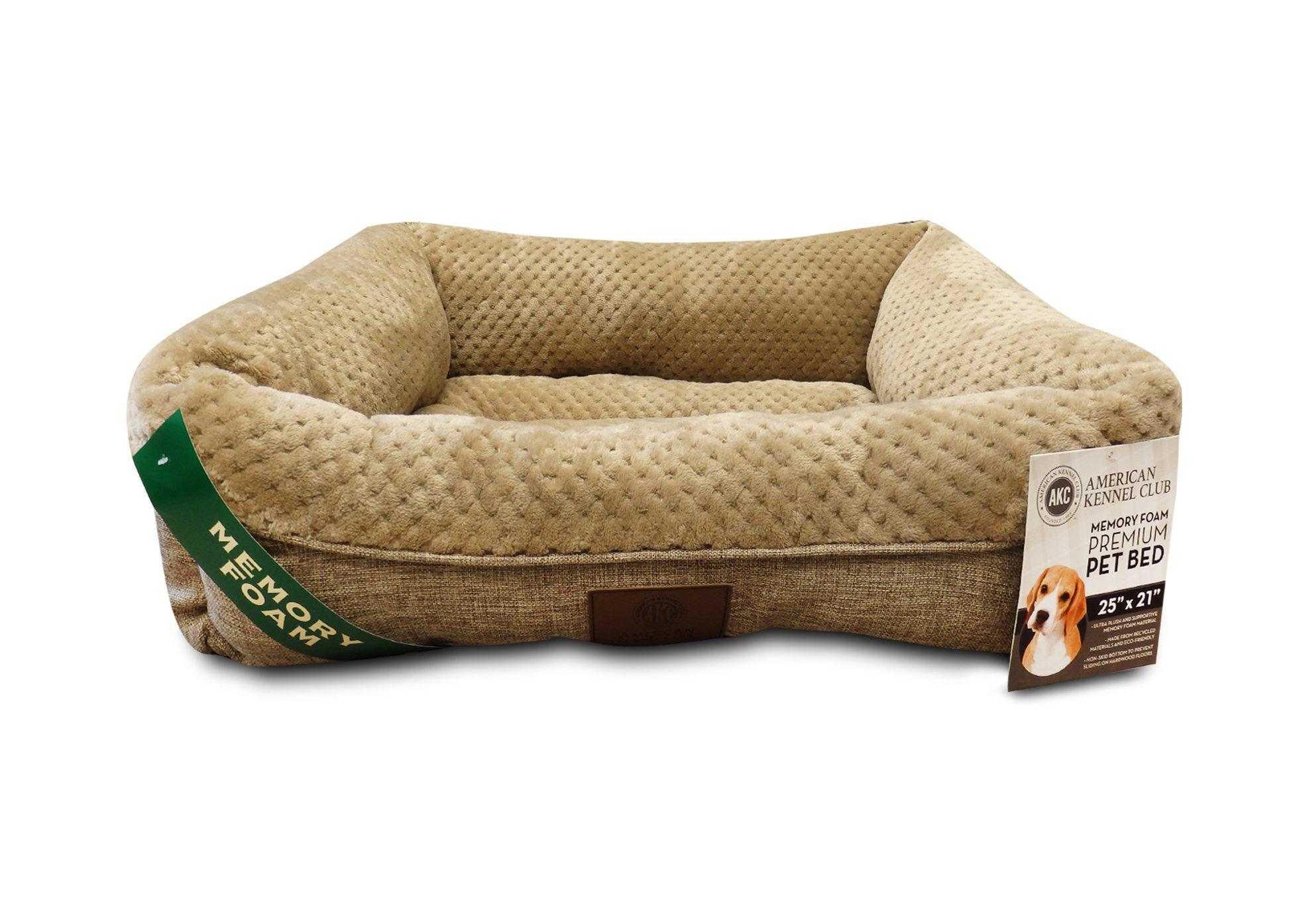 American Kennel Club AKC3118TAN 25'' Tan Memory Foam Cuddler Pet Bed