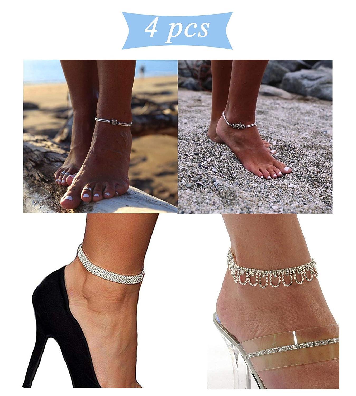 JOERICA 4PCS Beach Anklet Bracelet for Women Girls Crystal Rhineatone Stretch Tennis Ankle Elastic Bracelet JAAN-014PCS