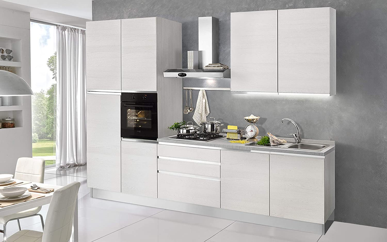 Cocina completa - Lado DX cm. 330 x 60 x 240 h - Incluye: campana extractora, horno ventilado, lavabo, frigorífico, frigorífico, placa de cocción a gas con 4 fuegos, 9 y 3 cajones.: Amazon.es: Hogar