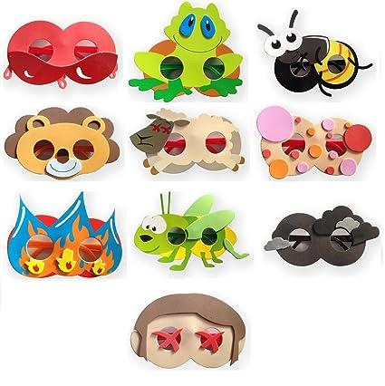 c14917a5c19 Amazon.com  10 Plagues Foam Glasses for Your Passover Seder. Masks ...