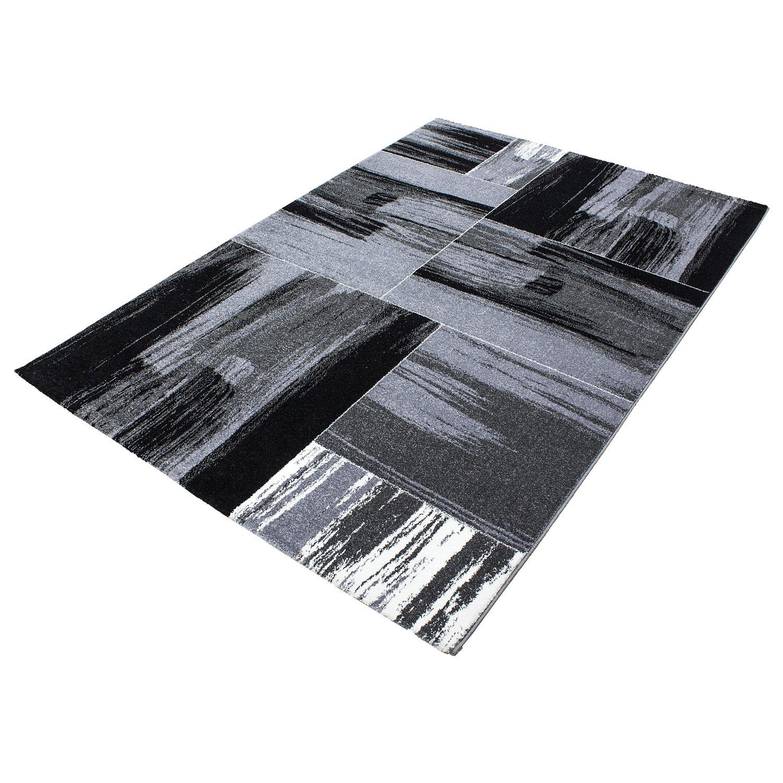 Teppiche modern Design Rechteckig Kurzflor Velours Vintage Meliert Grau, Maße 160x230 cm