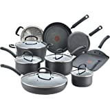 T-fal E918SE Ultimate Hard Anodized Nonstick 14 Piece Cookware Set, Dishwasher Safe Pots and Pans Set, Black