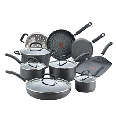 T-fal E918SE Ultimate Hard Anodized Nonstick 14 Piece Cookware Set, Dishwasher Safe Pots and Pans Set, Black