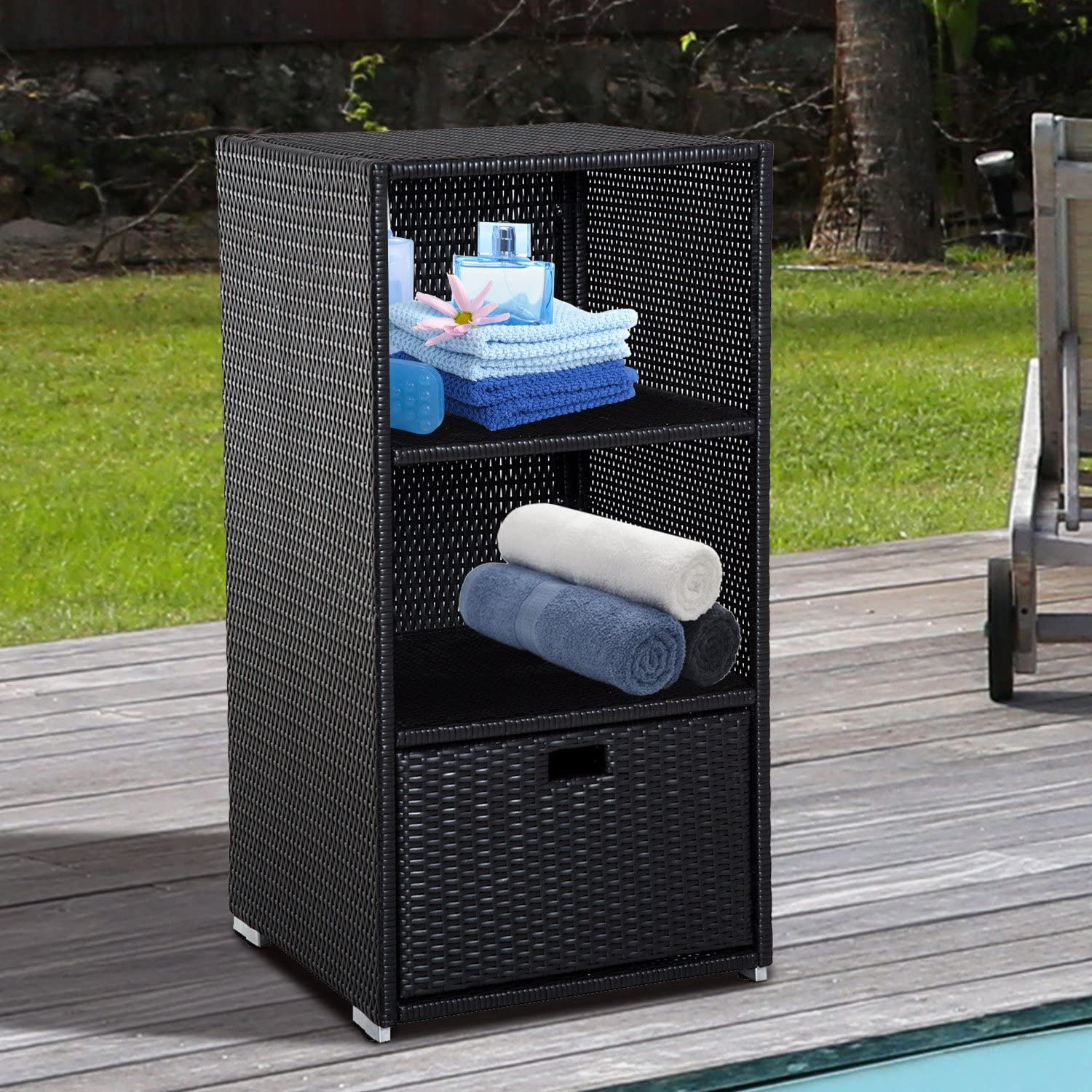 Outsunny Outdoor Wicker Pool Towel Storage Valet Holder
