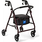 "Medline Steel Rollator Mobility Walker with 350 lb Weight Capacity and 6"" Wheels, Burgundy"