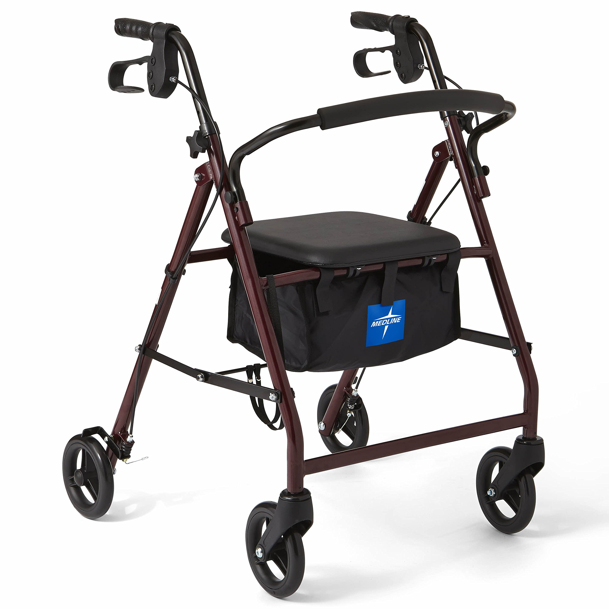 Medline Steel Rollator Mobility Walker with 350 lb Weight Capacity and 6'' wheels, Burgundy